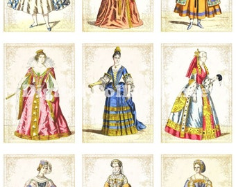 Vintage Costumes no 029 ATC ACEO cards digital Collage scrap sheet Buy 3 Get 1 free