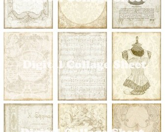 Vintage ATC ACEO backgrounds no 027 Collage scrap sheet Buy 3 Get 1 FREE