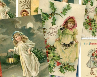 Vintage Christmas Children Postcards no.079 ATC ACEO cards digital Collage scrap sheet Buy 3 get 4th free