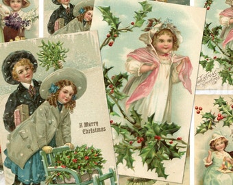 Vintage Christmas Children Postcards no.080 ATC ACEO cards digital Collage scrap sheet Buy 3 get 4th free