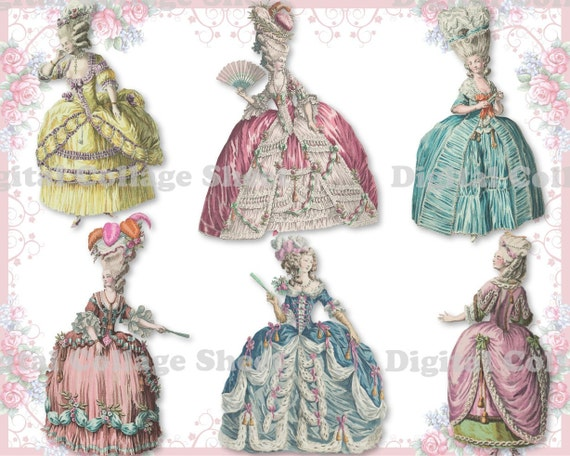 Marie Antoinette 05 digital collage sheet png cutouts paper dolls