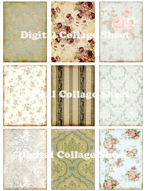 Vintage ATC ACEO backgrounds no 028 Collage scrap sheet Buy 3 Get 1 FREE