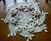 Romantic 3 D Roses Crochet Lace Thread Art Doily New Handmade