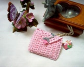 Pink Rosebud Rosary Case Jewelry Pouch Coin Purse Gift Bag Crochet Thread Art