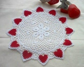 Valentine Red Hearts 'N' Lace Crochet Thread Art Doily New Handmade