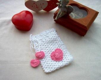 Sweetheart Gift Bag Sachet Crochet Lace Thread Art New Handmade