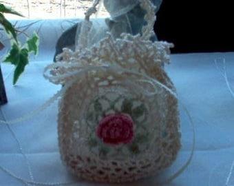 Victorian Romantic Rose Crochet Lace Gift Bag/Sachet New Handmade
