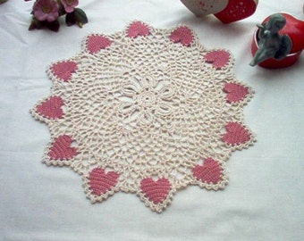 Victorian Hearts N Lace Crochet Thread Art Doily New Handmade