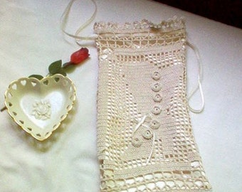 Victorian Hosiery/Lingerie Bag Crochet Lace Thread Art New Handmade