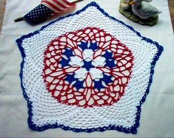 Patriotic Americana Stars Crochet Thread Art Doily