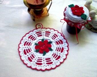 Rose Potholder and Jar Lid Cover Crochet Thread Art New Handmade
