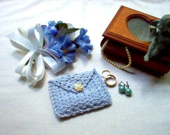 Blue Rosary Case Jewelry Pouch Coin Purse Gift Bag Crochet Thread Art
