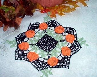 Autumn 3 D Roses Crochet Lace Thread Art Doily New Handmade