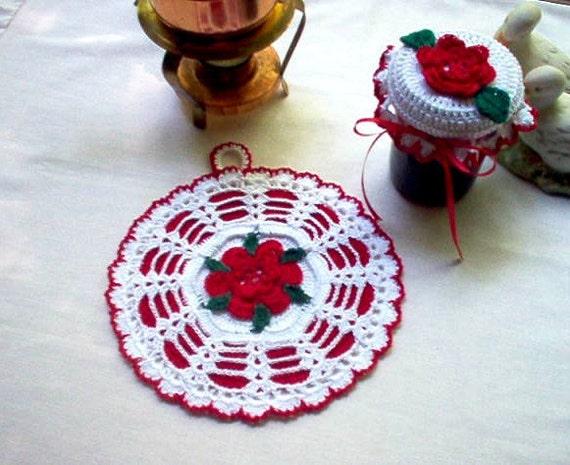 Retro  Rose Potholder and Jar Lid Cover Crochet Thread Art