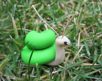 Sweet Snail in Lime Green Perfect for Planters or Terrariums