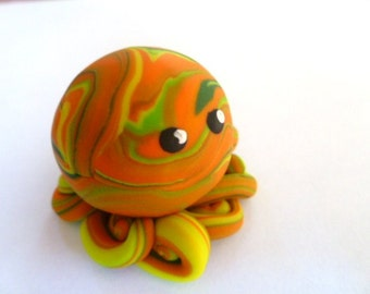 Awesome Little Octopus in Citrus Swirl Orange Yellow Green and Lime