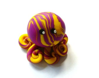 Awesome Little Octopus in Bright Yellow and Violet Swirl