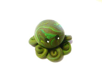 Awesome Little Octopus in Deep Brown Green and Lime Swirl