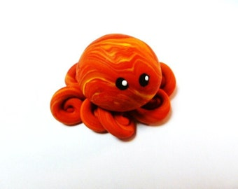 Awesome Little Octopus in Sunset Swirl/ Shades of Red Orange and Yellow