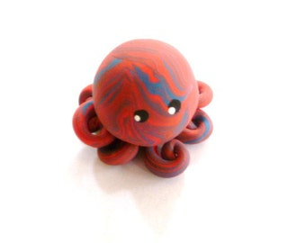 Little Octopus Mini Marble Friend in Coral and Blue Swirl