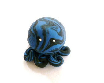 Little Octopus Mini Marble Friend in Blue and Black Swirl