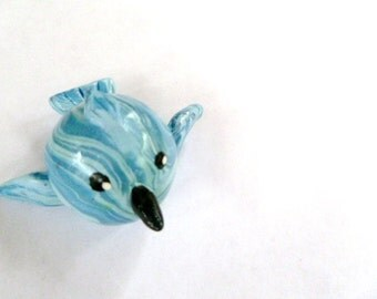 Mini Marble Friends Blue Bird Pearl Blue and Light Blue Swirl