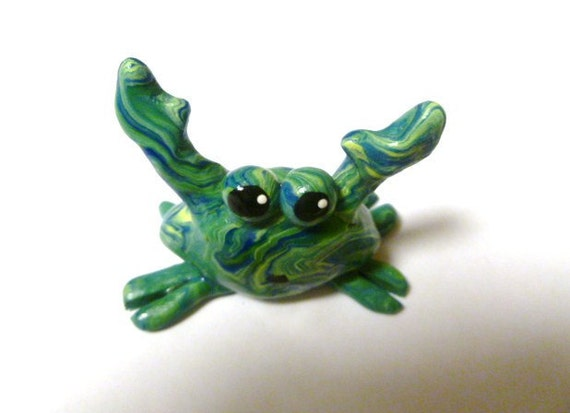 Mini Marble Friends-Not So Crabby Crab -Blue Yellow and Green Swirl