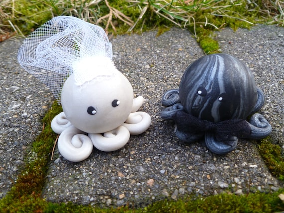 Octopus Wedding Couple Cake Topper Mini Marble Friends Set of Two in Icy Pearl and Black and Silver Swirl Bride and Groom