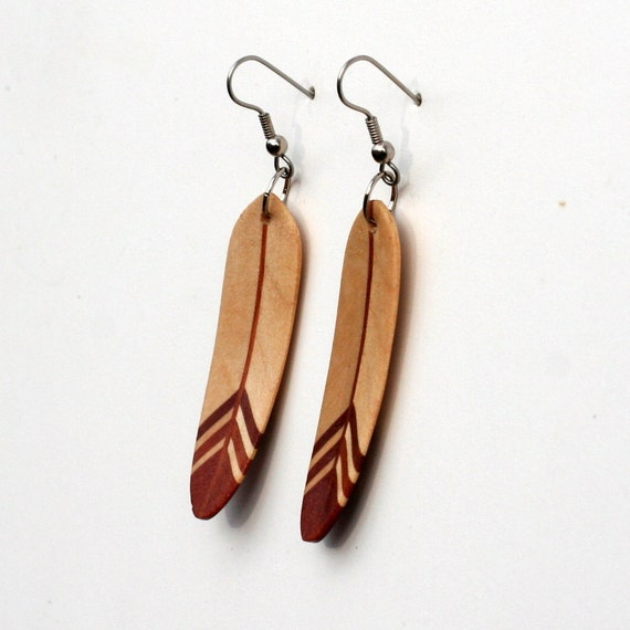Handcarved Maple and Brazilian Redwood Wood Feather Earrings  J120130