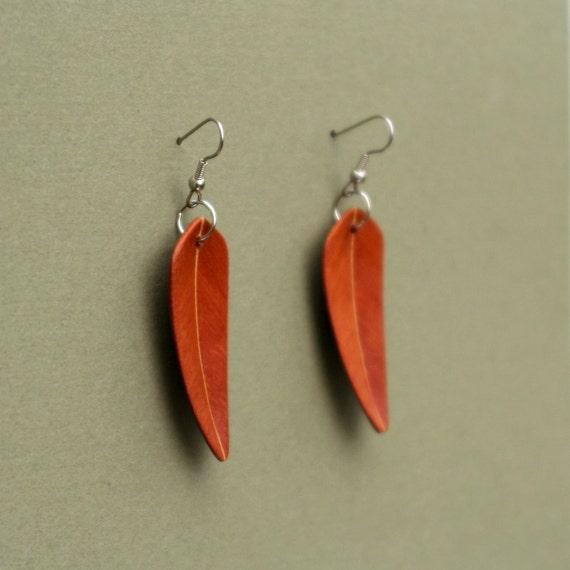 Handcarved Brazilian Redwood and Maple Wood Leaf / Feather Earrings  J1201112