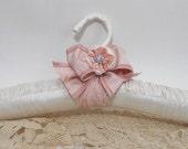 Padded  Hangers equal Bridal Bliss  Handmade Blush Silk Ribbon Rhinestone Accent