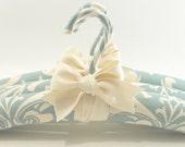 RESERVED For Heidi  Padded Hangers Robins Egg Blue Damask Print