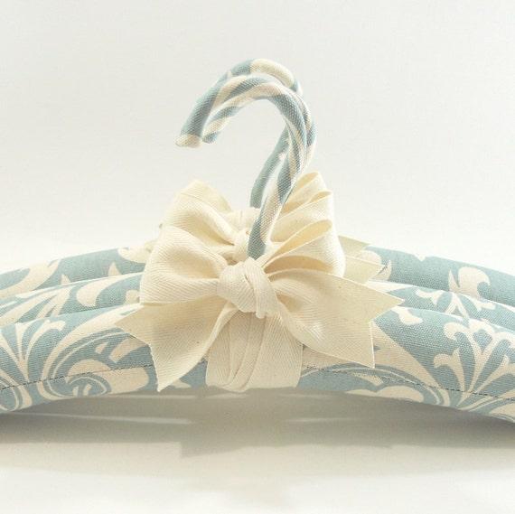 Padded Hangers Robins Egg Blue Damask Print