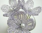 hair pins, light lilac purple flower blossom - for brides, bridesmaids, flower girls-- member of the artisan group