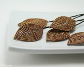 bronze copper  beaded leaves for weddings - great for florists, bouquet bling- bridal wedings autumn fall accessories