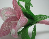 French beaded beaded pink calla lily bridesmaid bouquet, bridal bouquet, wedding flowers, bridesmaid