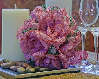 Chrysanthemum Fantasy - French  Beaded Wedding Bouquet - ready to ship-- member of the artisan group