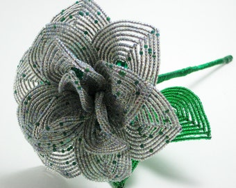 Peacock inspired French beaded rose - French beaded flowers