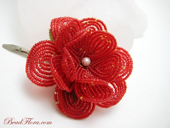 Red French Passion beaded flower hair clip, weddings, weekend soirees, halloween parties, prom