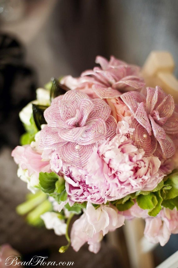 Pink romance French beaded flowers -  perfect for the bride's bouquet