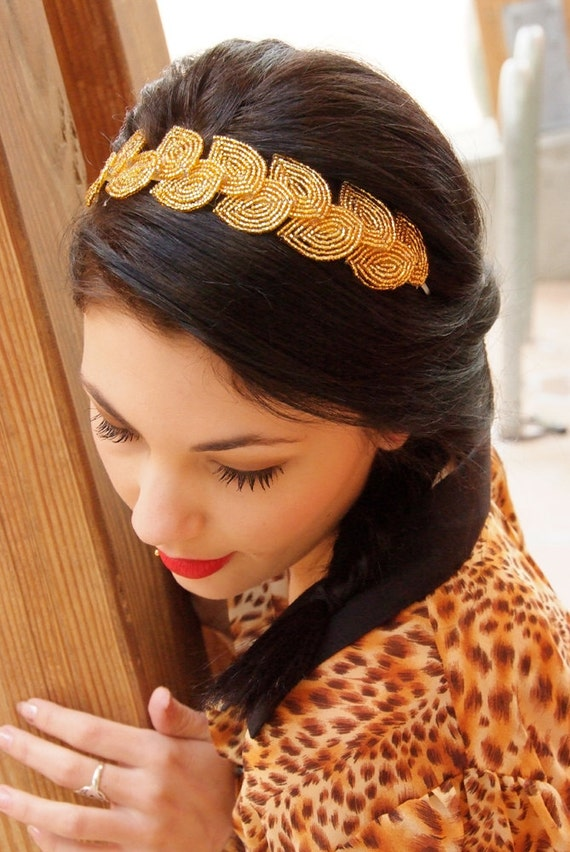 Gold beaded leaf headband, 2012 MTV Movie Awards - French beaded flowers, bridal, halloween