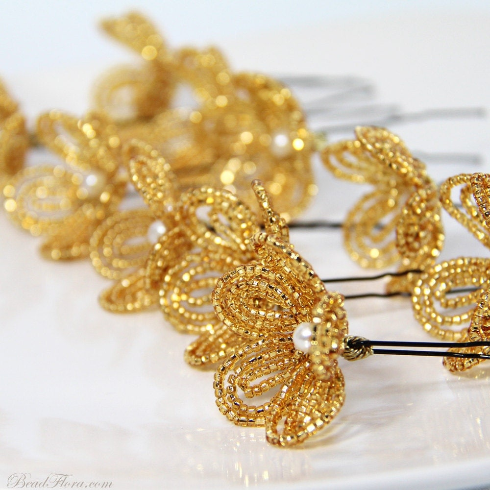 gold beaded flower hair pins by beadflorajewels on etsy