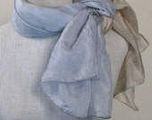Ecru and blue ombre silk scarf dyed with all natural plant extracts.(33,34)
