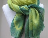Grass Green and Yellow oversized Italian Silk Ombre Dyed Scarf.