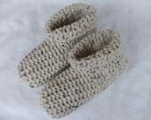 Crocheted Cozy Warm Tan Slippers Womens Size 7-9