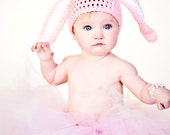 Crochet Easter Bunny Baby Hat, Baby Girl, Baby Boy, You Pick Size and Color, Photo Prop, Ready to Ship