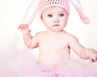Crochet Baby Bunny Hat, Crochet Easter Bunny Baby Hat, Baby Girl, Baby Boy, You Pick Size and Color, Photo Prop, Ready to Ship