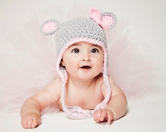 Crochet Baby Hat - Baby Girl - Photo Prop - Baby Hat with Ears and Bow - You Pick Size - Ready to Ship