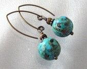 Mosaic Turquoise Tiger Eye Gemstone Earrings in Antique Brass