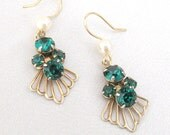 Emerald Green Rhinestone Earrings, Upcycled Vintage 1940's Dangles